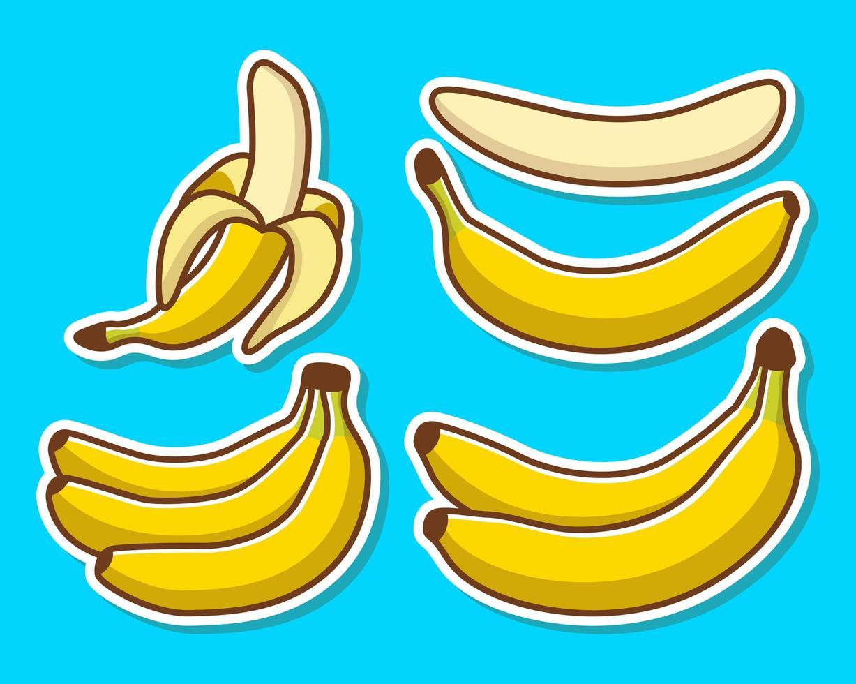 conjunto de bananas amarelas de desenho animado vetor