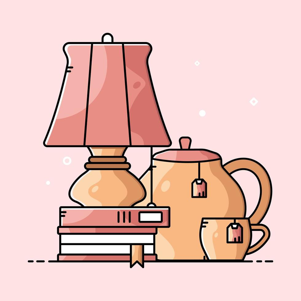 Set of cute cartoon living room items vector