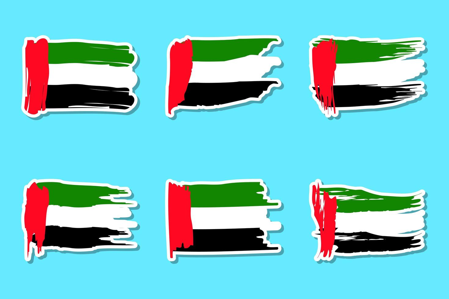 conjunto de pegatinas de la bandera del día nacional de los emiratos árabes unidos vector
