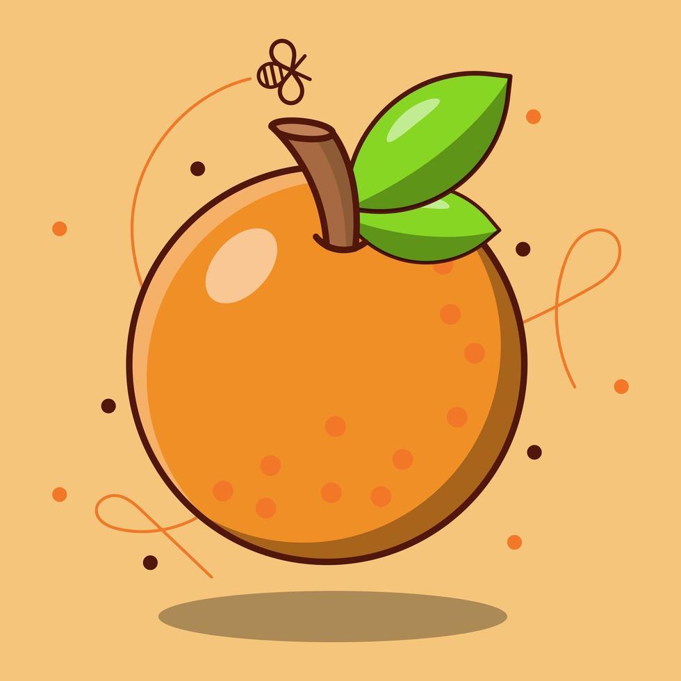 fruta fresca de naranja de dibujos animados lindo vector
