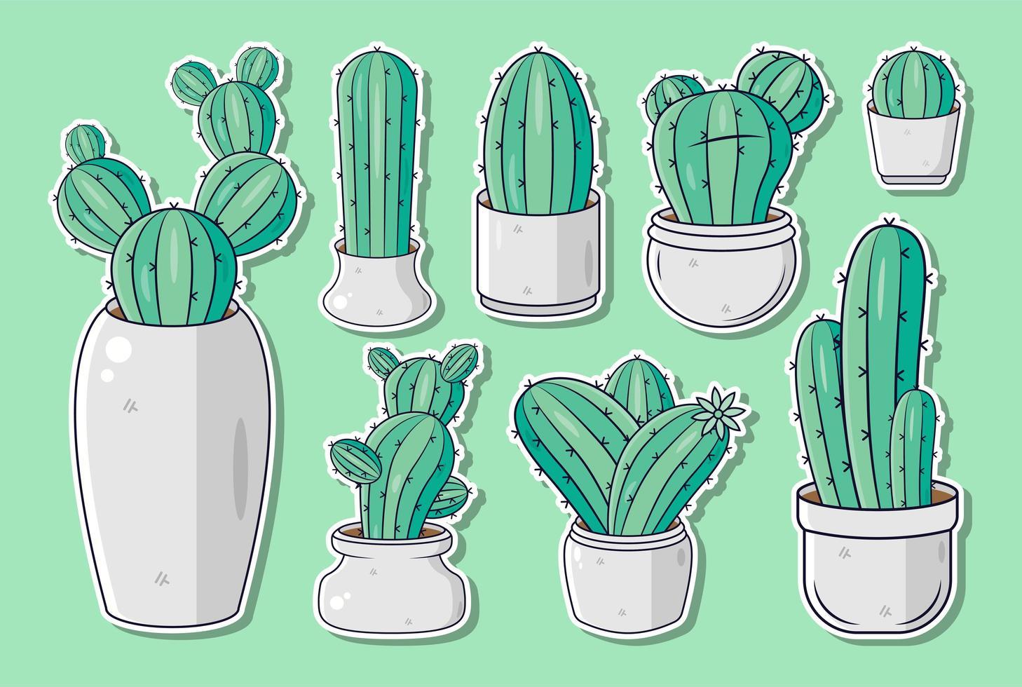 conjunto de pegatinas o etiquetas de cactus de dibujos animados lindo vector