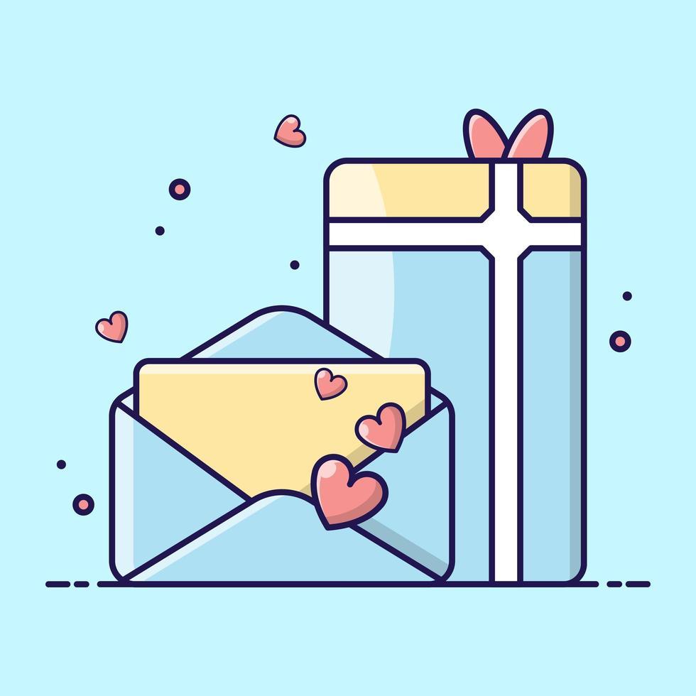 carta de amor y un regalo iconos de dibujos animados vector