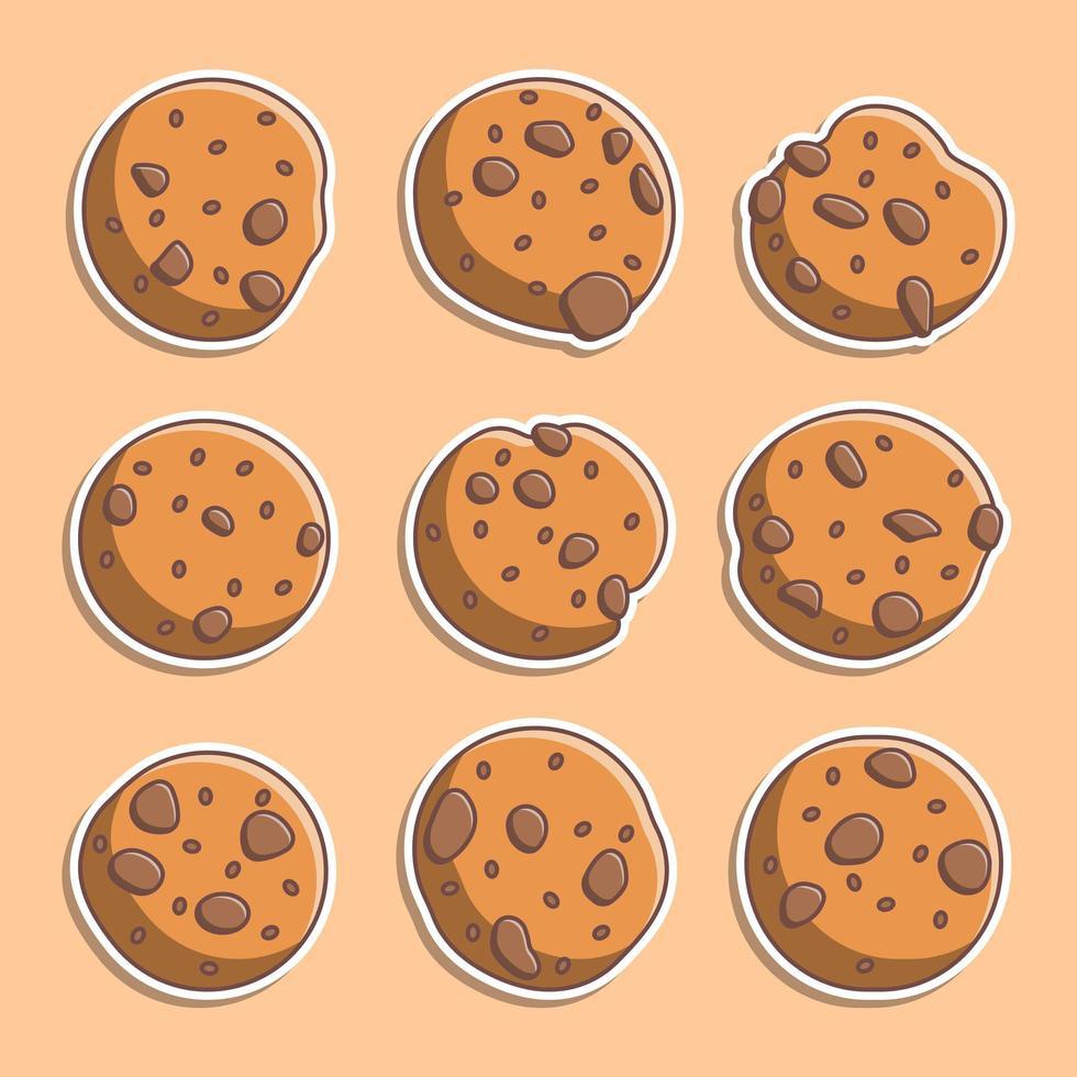 conjunto de galletas de estilo de dibujos animados lindo vector