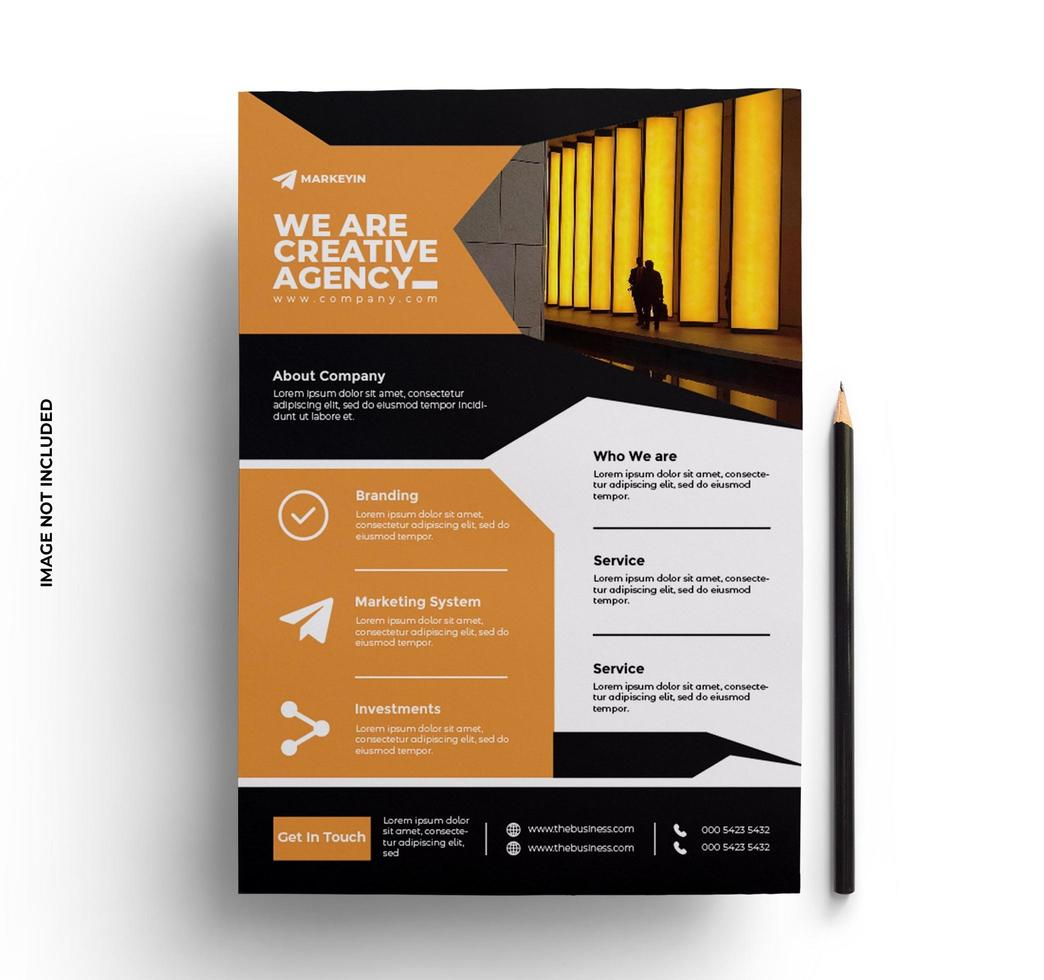 design de flyer laranja em tamanho A4 vetor