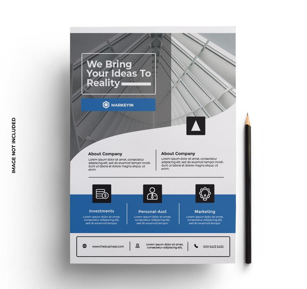 modelo de layout de design de folheto elegante em tamanho A4 vetor