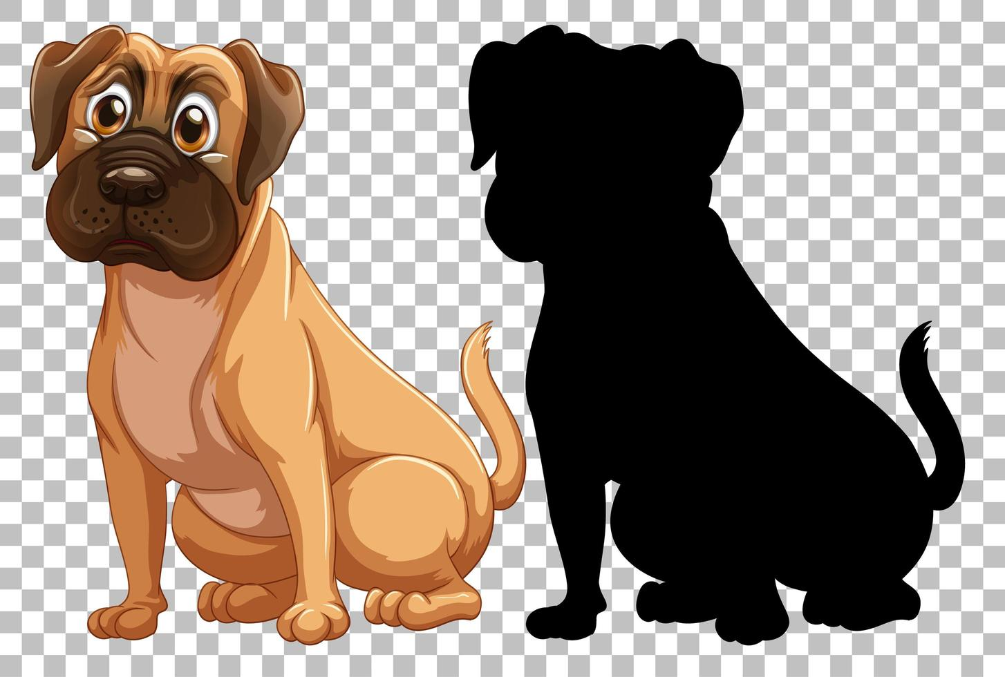 Boxer dog and silhouette vector