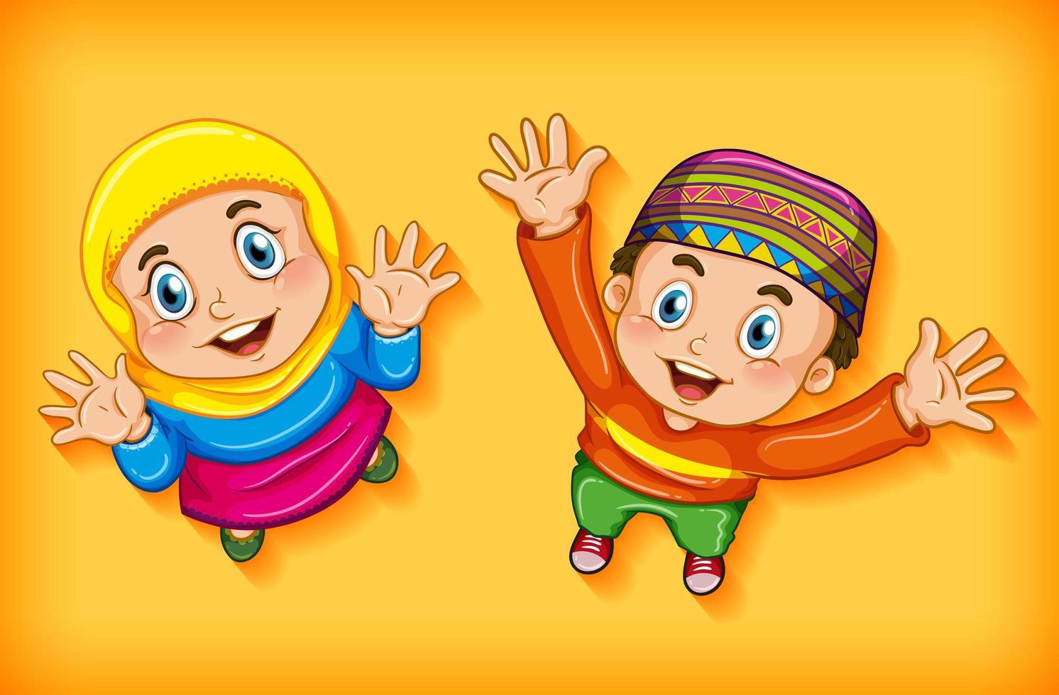 crianças muçulmanas felizes de vista aérea vetor