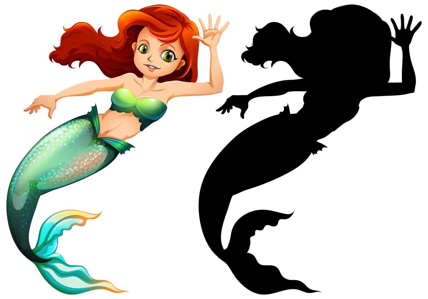 personaje de sirena y silueta vector