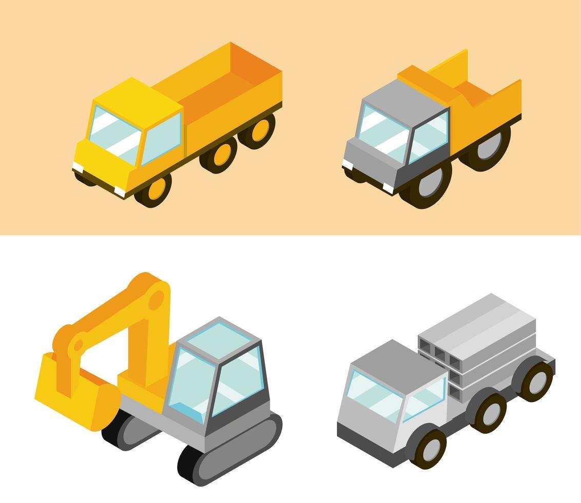 camiones y máquinas de construcción isométrica vector