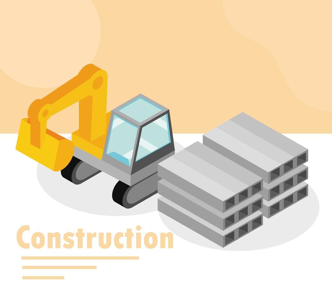 banner de construcción isométrica vector