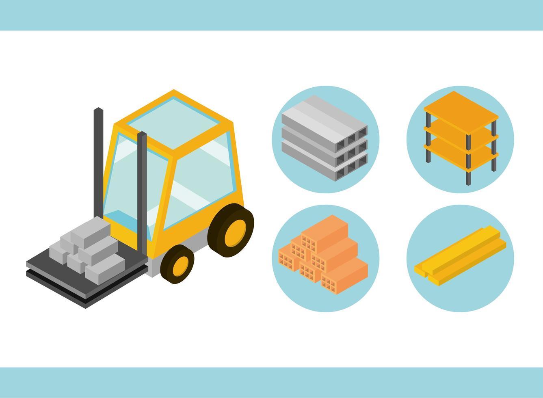 Isometric construction icon set vector