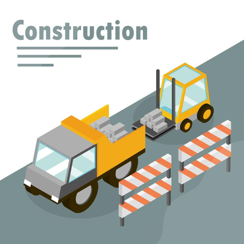Isometric construction banner vector