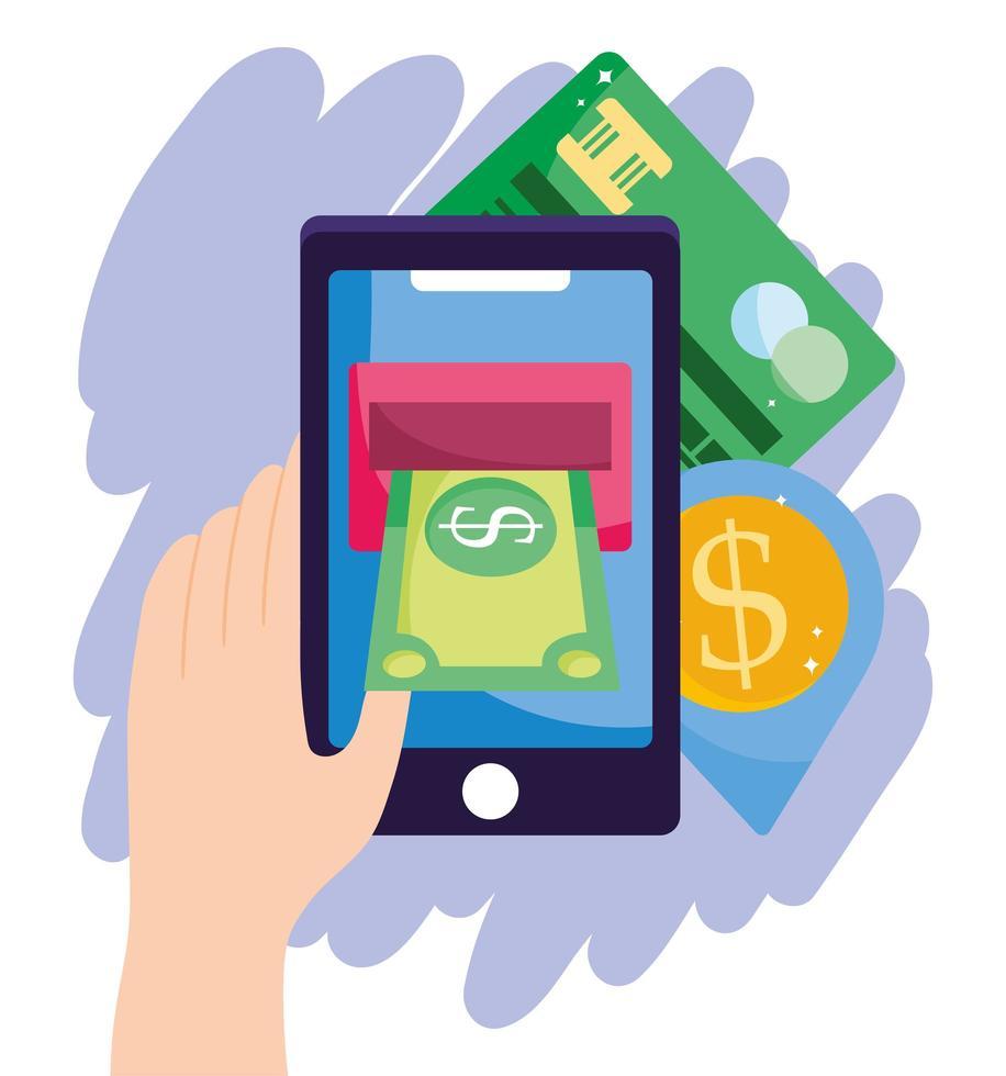 pago en línea y composición de comercio electrónico vector