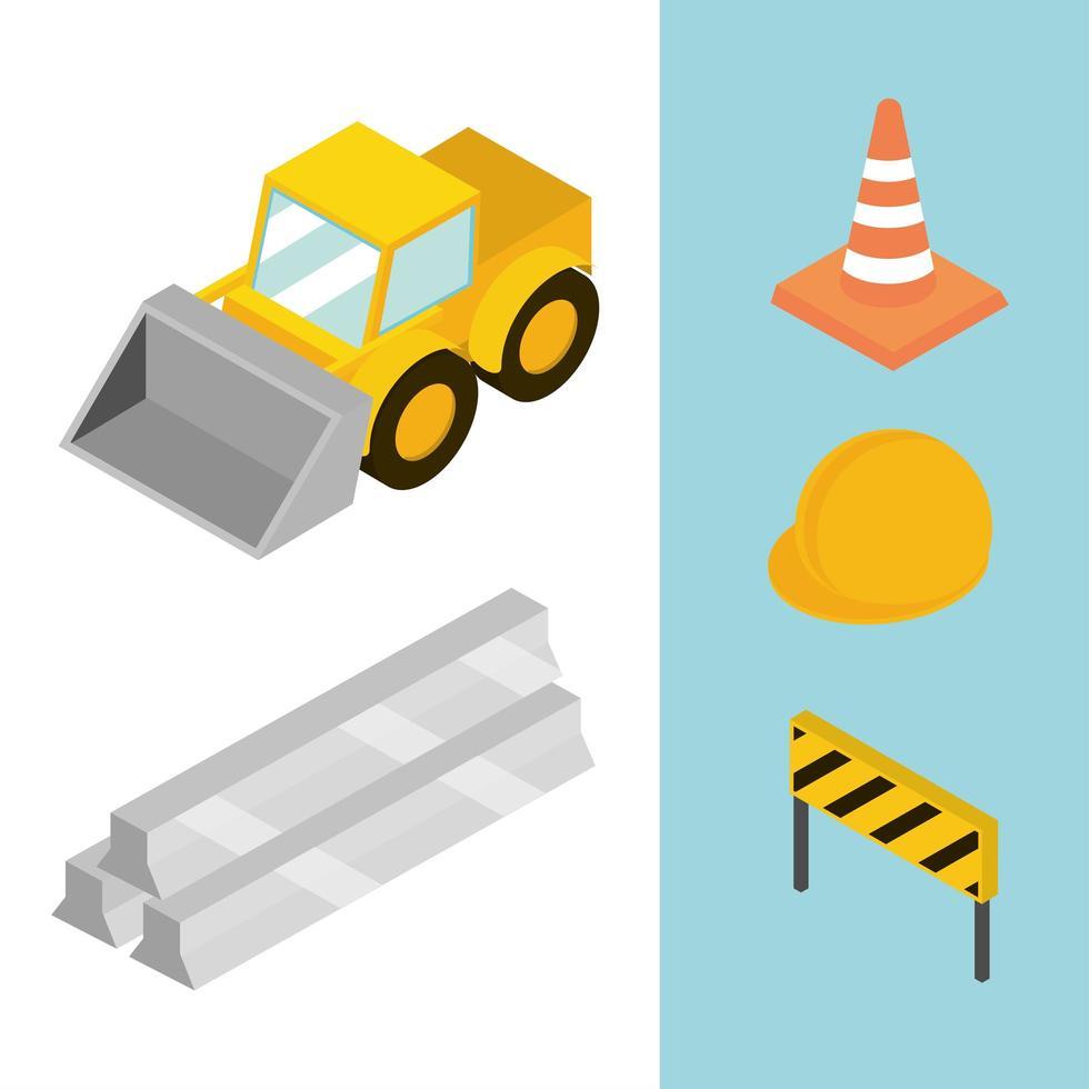 conjunto de ícones de construção isométrica vetor