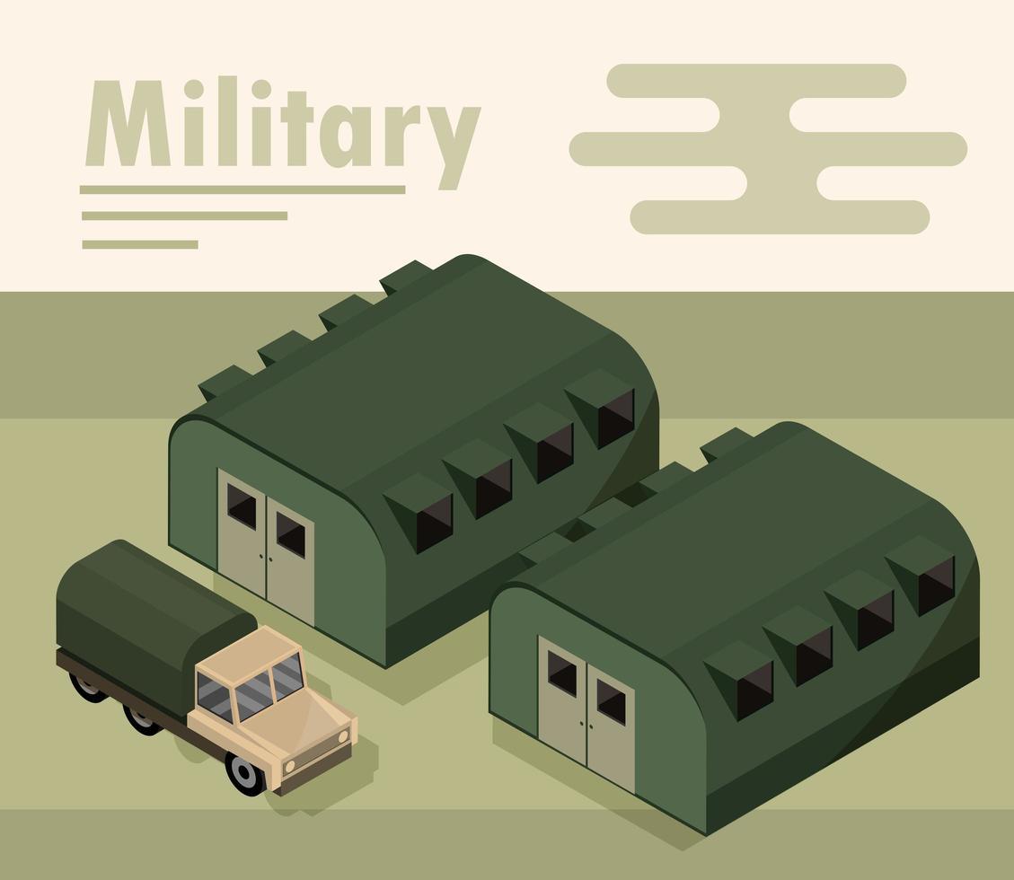 composición isométrica del campo militar vector