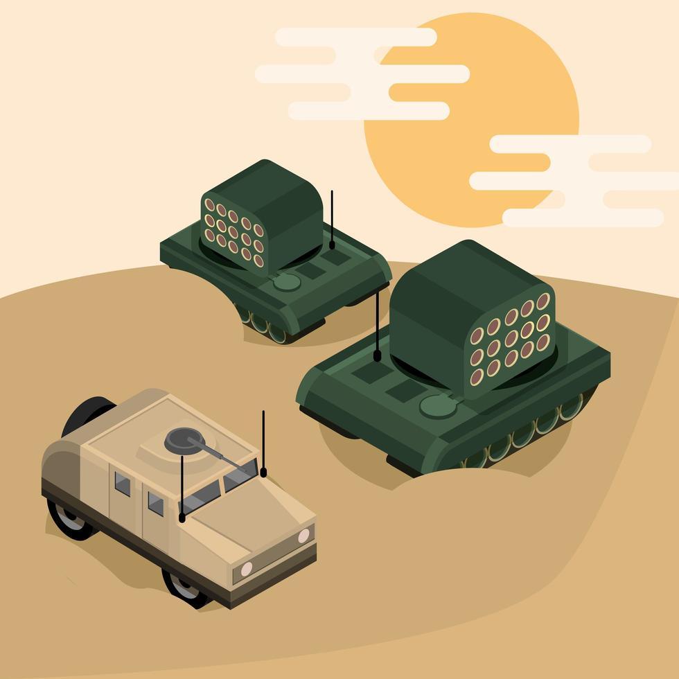 veículos militares isométricos e composição de tanques vetor