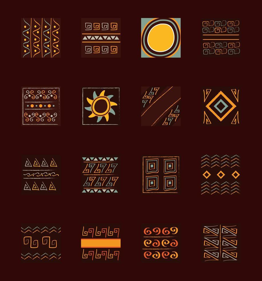 conjunto de azulejos de ornamento étnico vetor