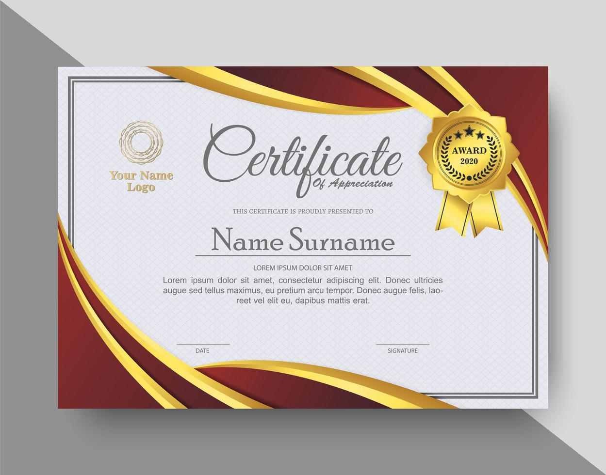 certificado de reconocimiento creativo en rojo y dorado. vector