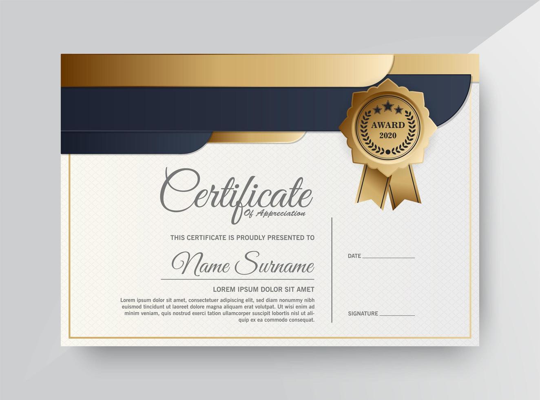 modelo de certificado premium ouro e preto vetor