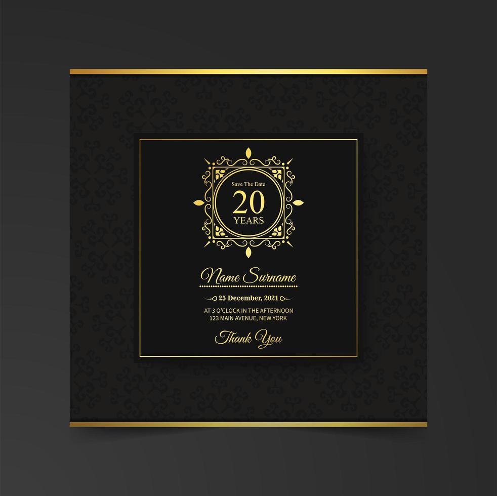 modelo de convite de cartão de aniversário elegante vetor