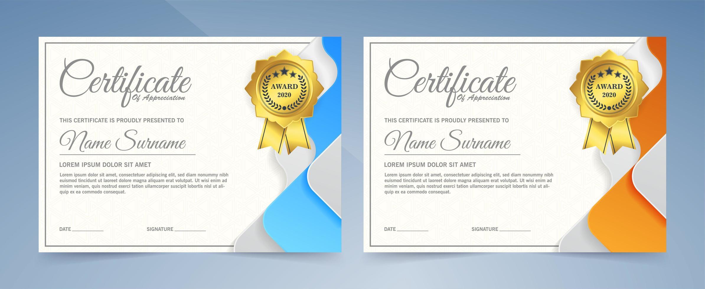 certificados en colores azul y naranja vector