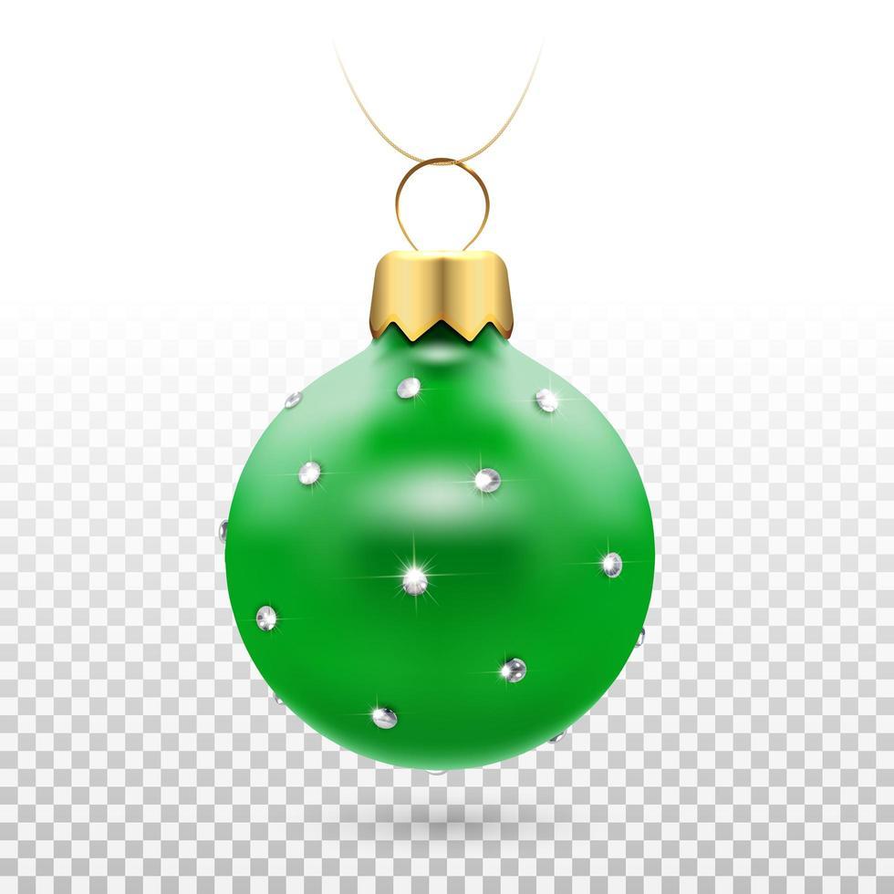 adorno de bola de navidad verde brillante con diamantes vector