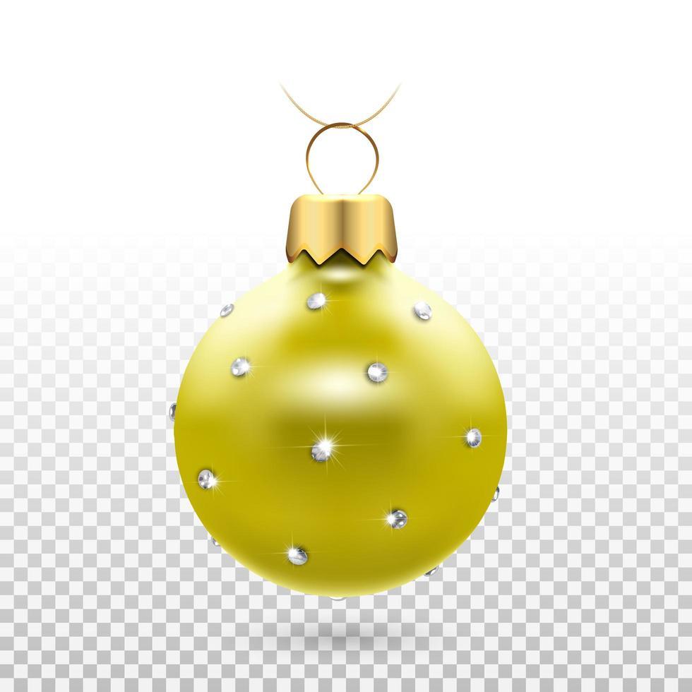 enfeite de bola de natal dourada brilhante com diamantes vetor
