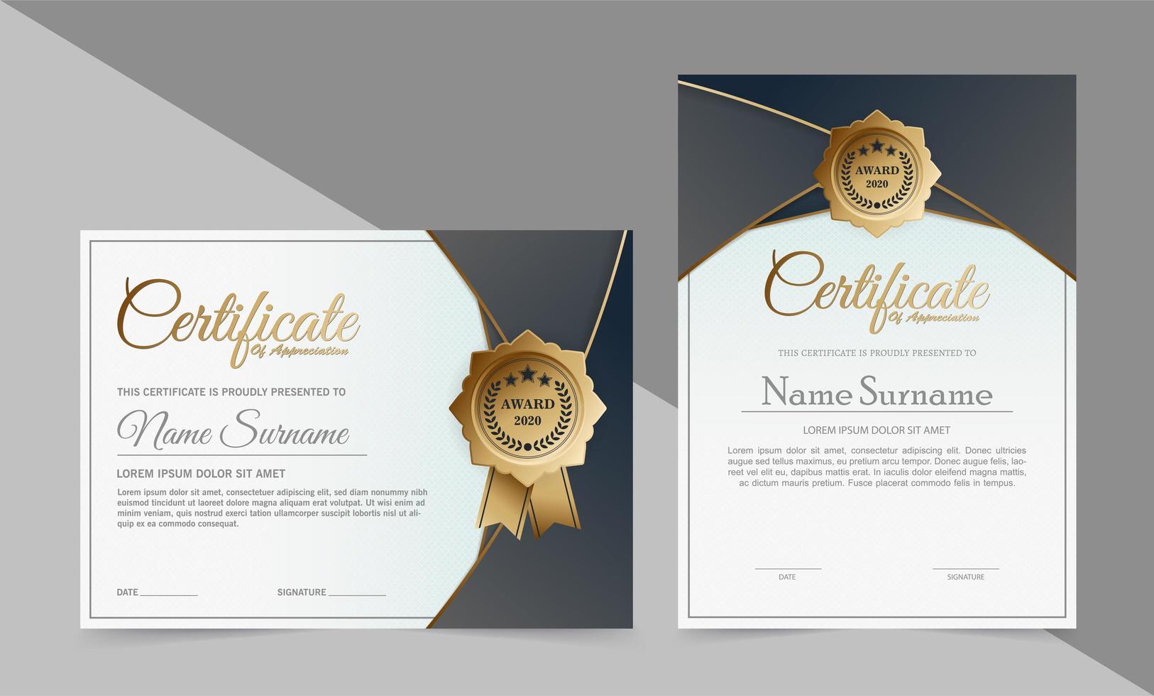 diseños de certificado moderno gris y blanco vector