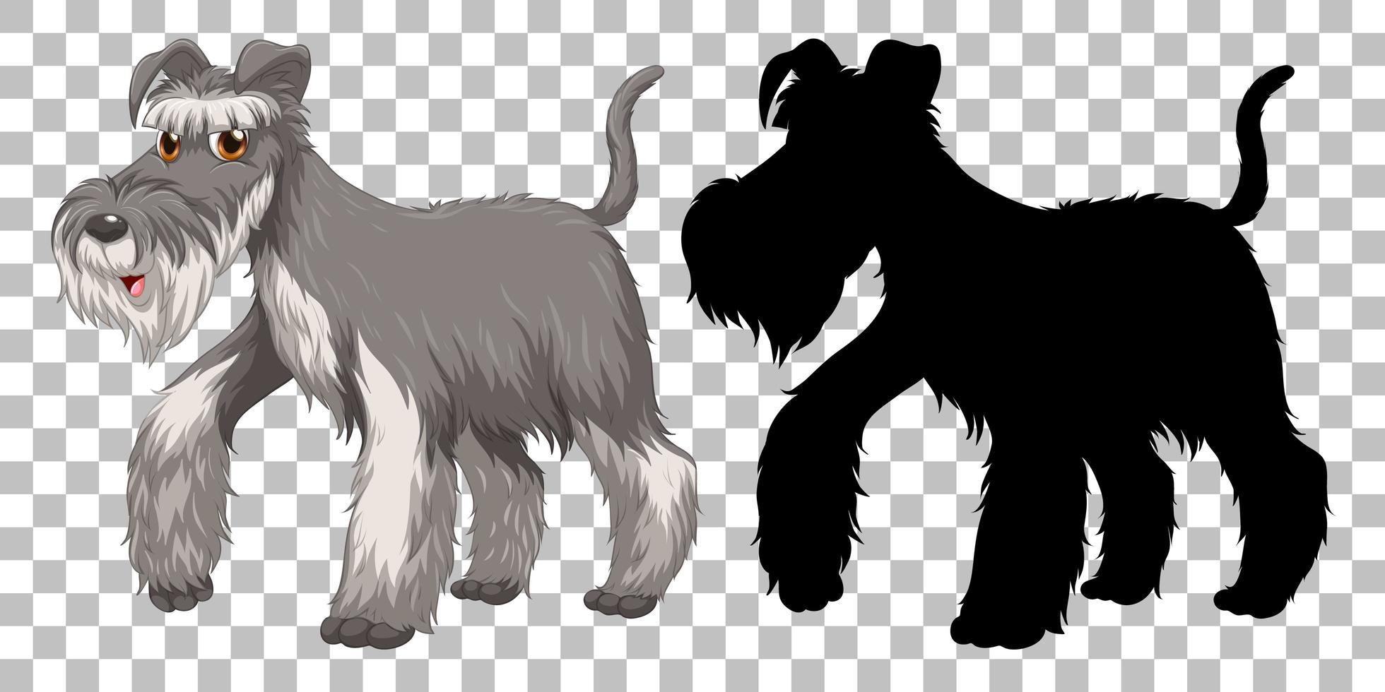 Cute wire fox terrier y silueta vector