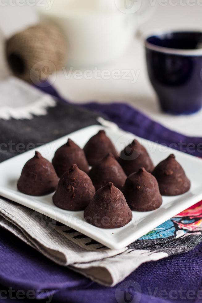 trufas de chocolate dulces foto
