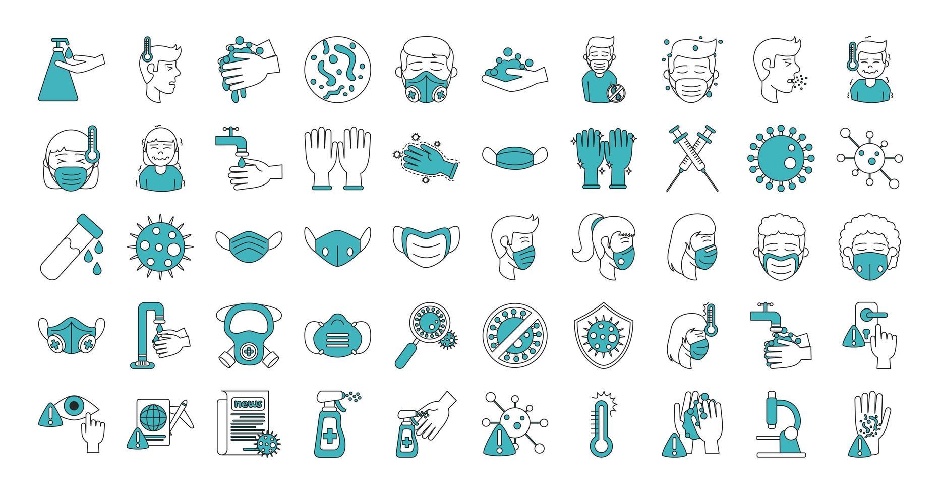 Conjunto de iconos de coronavirus e infección viral vector