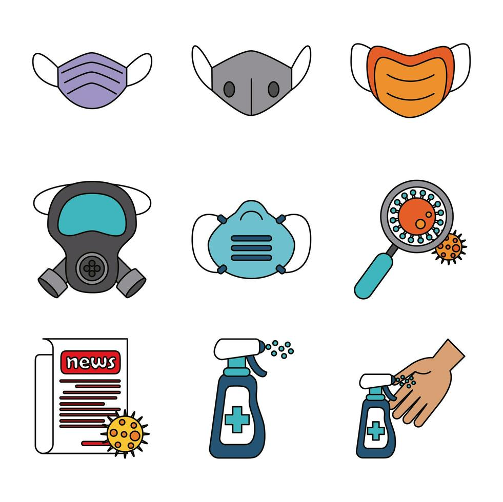 Coronavirus and viral infection icon set vector