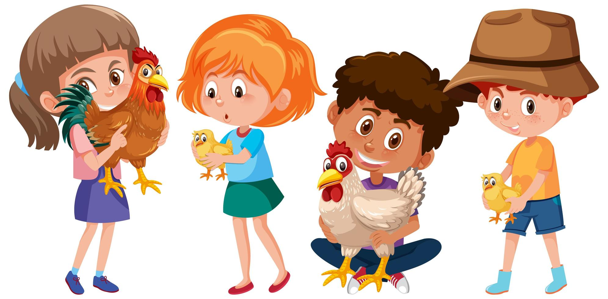 Set of different kids holding chicken isolated vector