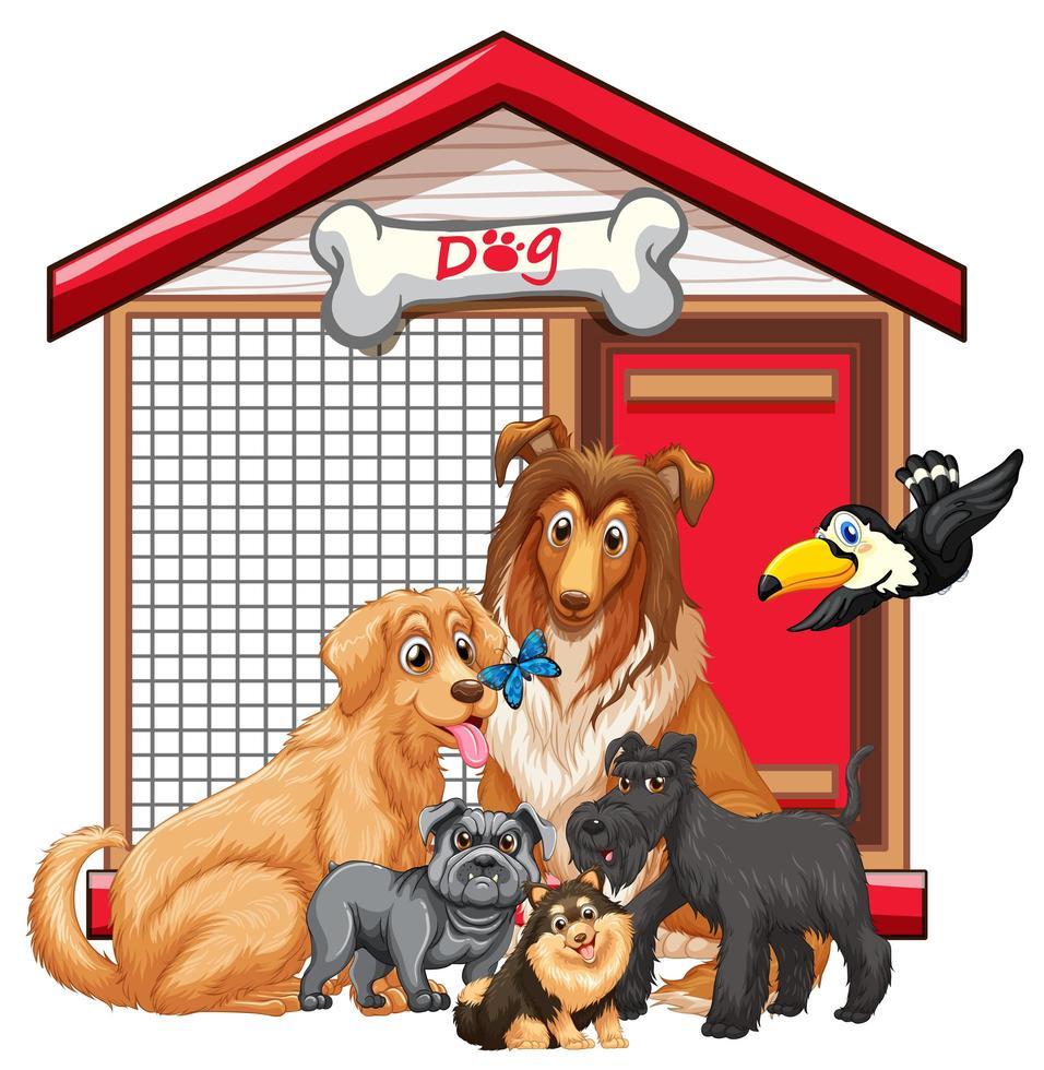Jaula de perro con dibujos animados de grupo animal aislado vector