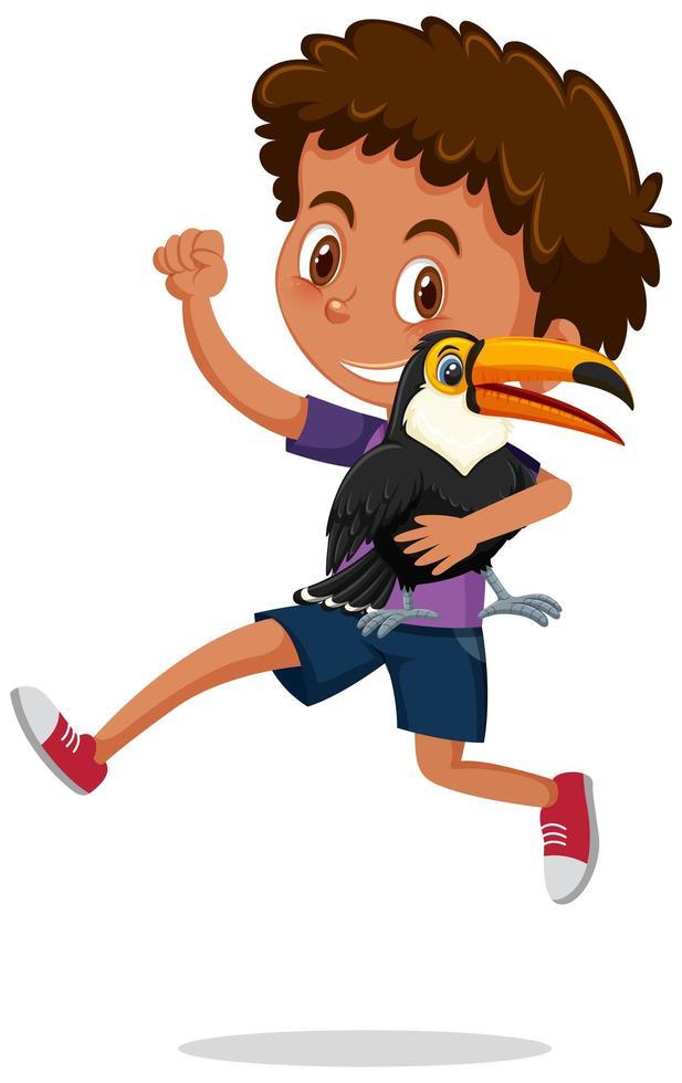 niño sosteniendo lindo personaje de dibujos animados animal aislado vector