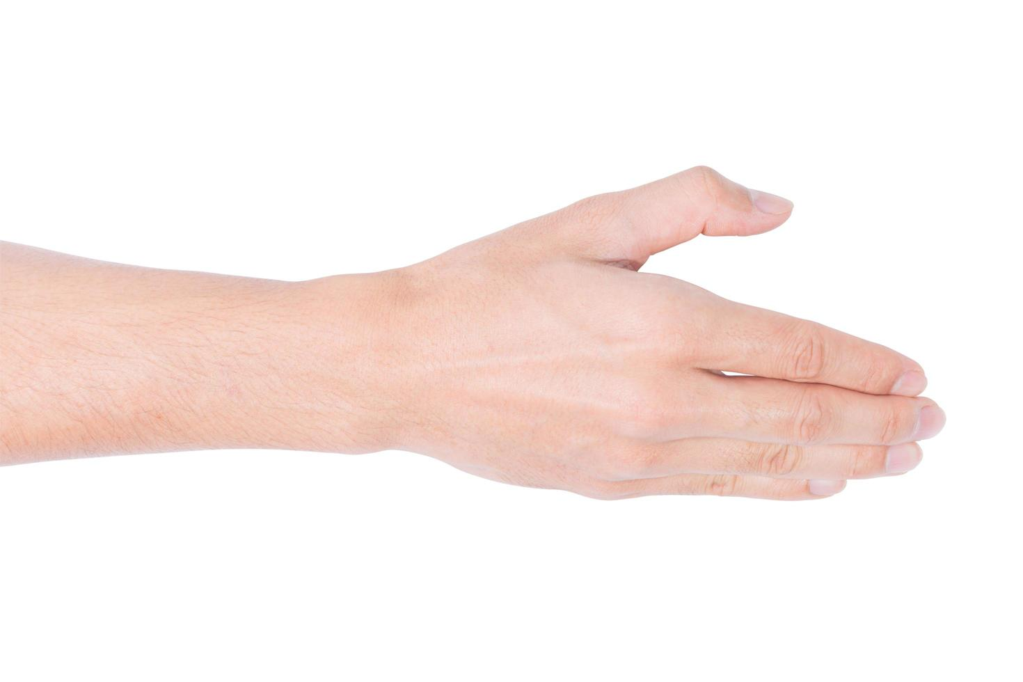 mano sobre fondo blanco foto
