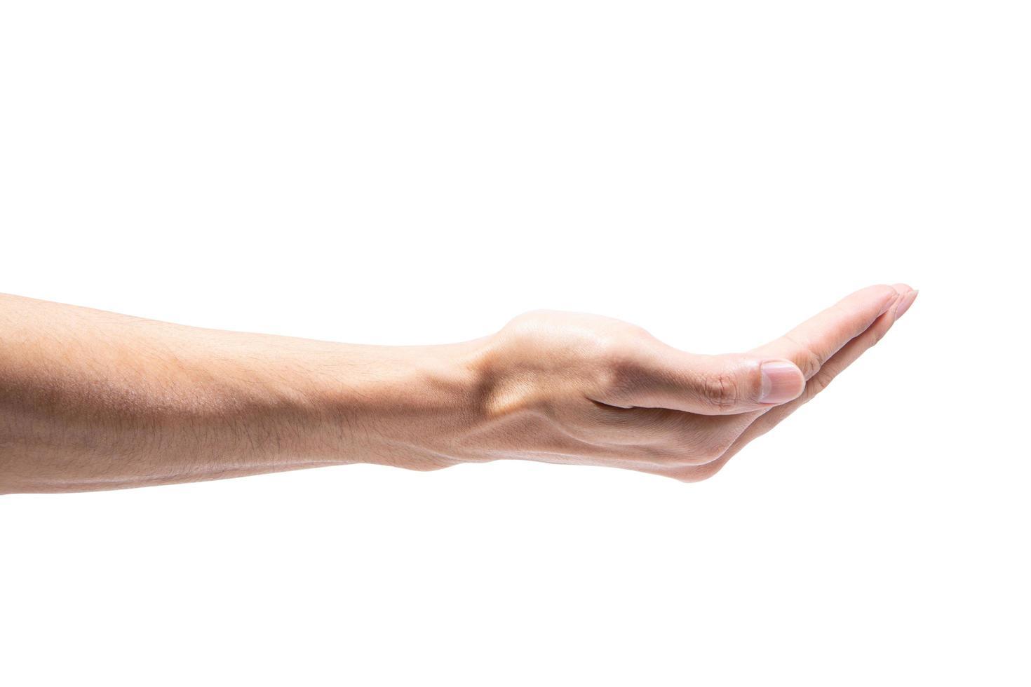 Hand on white background photo