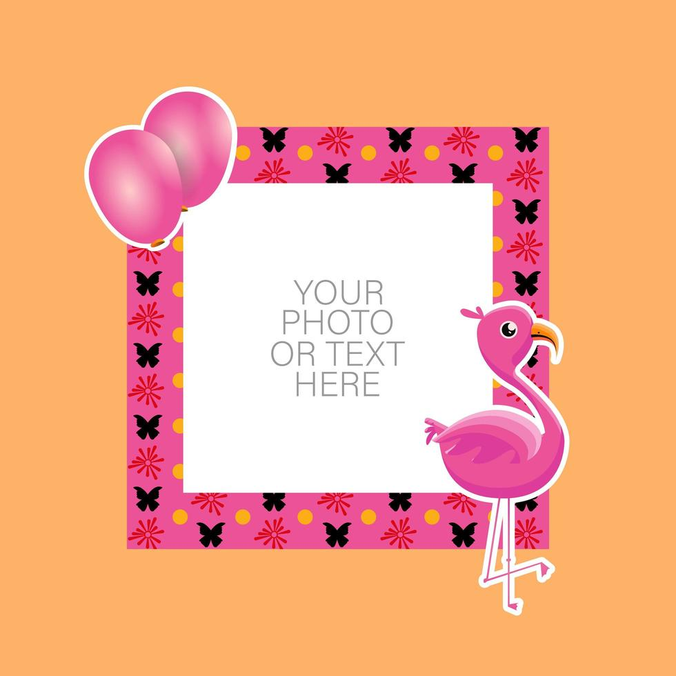 Photo frame with cartoon flamingo and balloons vector