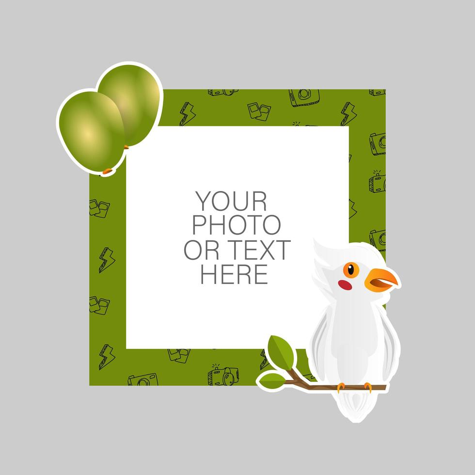 Photo frame with cartoon parrot and balloons vector