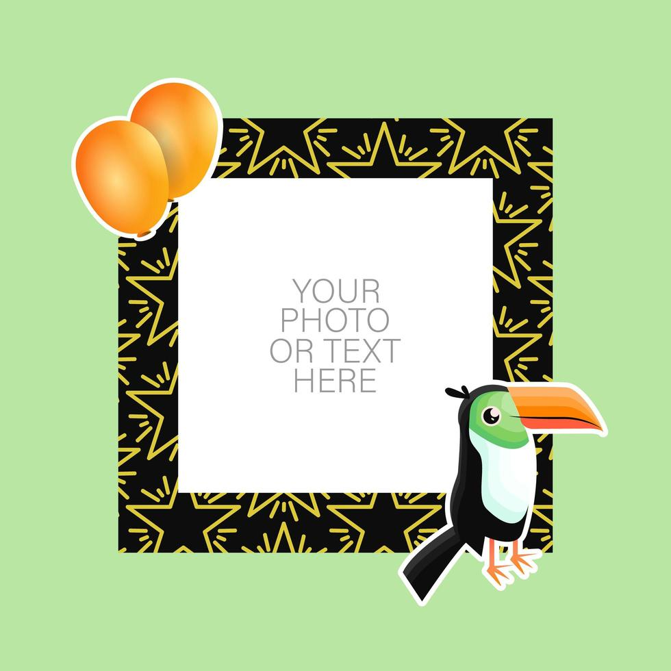 Photo frame with cartoon toucan and balloons vector