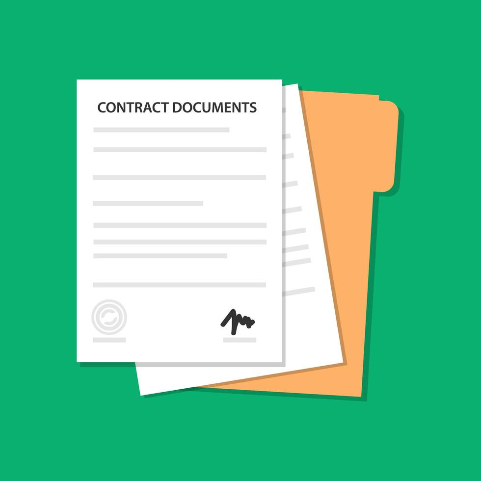 Flat contract document and folder design vector