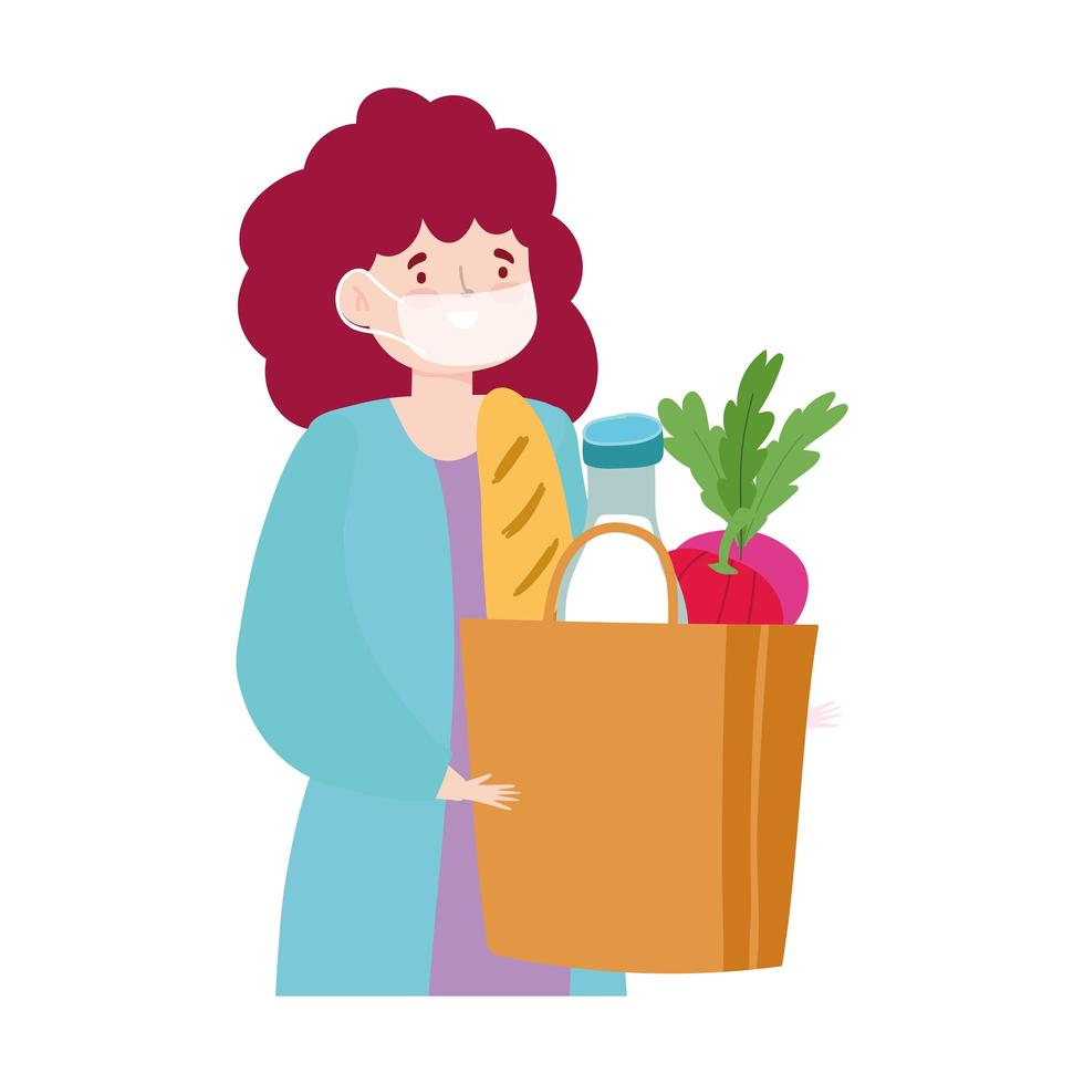 Young woman with mask and grocery bag vector