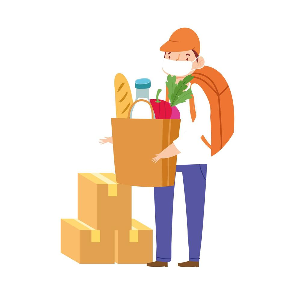 Masked worker with cardboard boxes and grocery bag vector