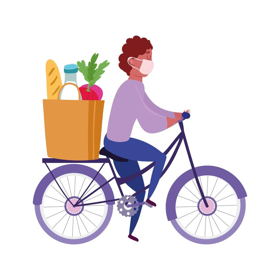 Courier man riding bicycle with mask and grocery bag vector
