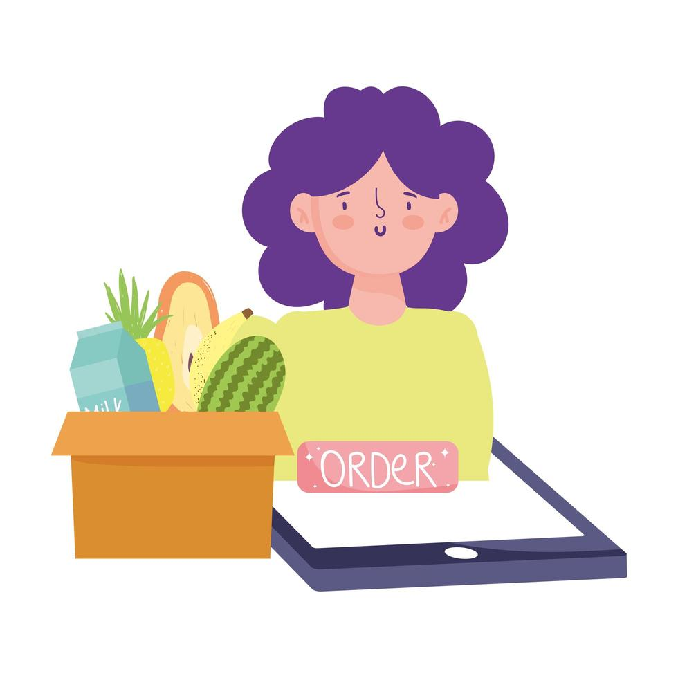 Woman with smartphone and food order in box vector