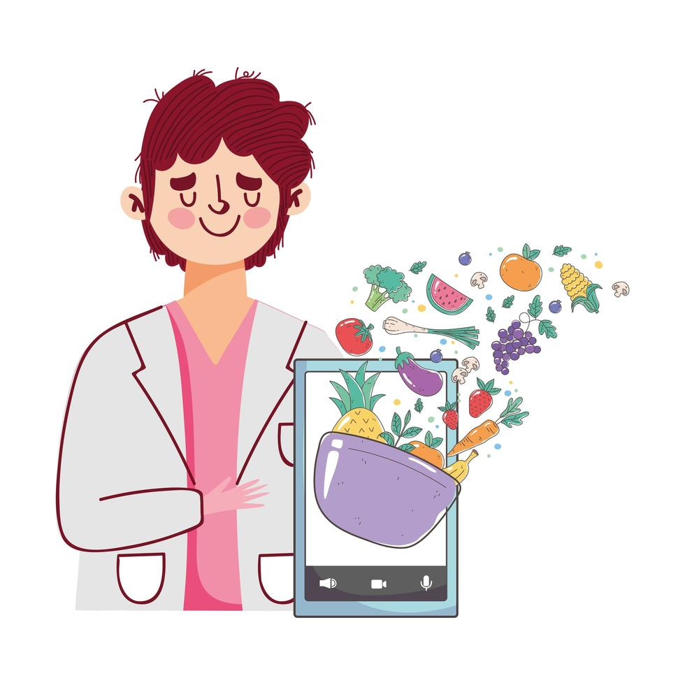 Dietitian with smartphone offering fresh vegetables and fruits vector