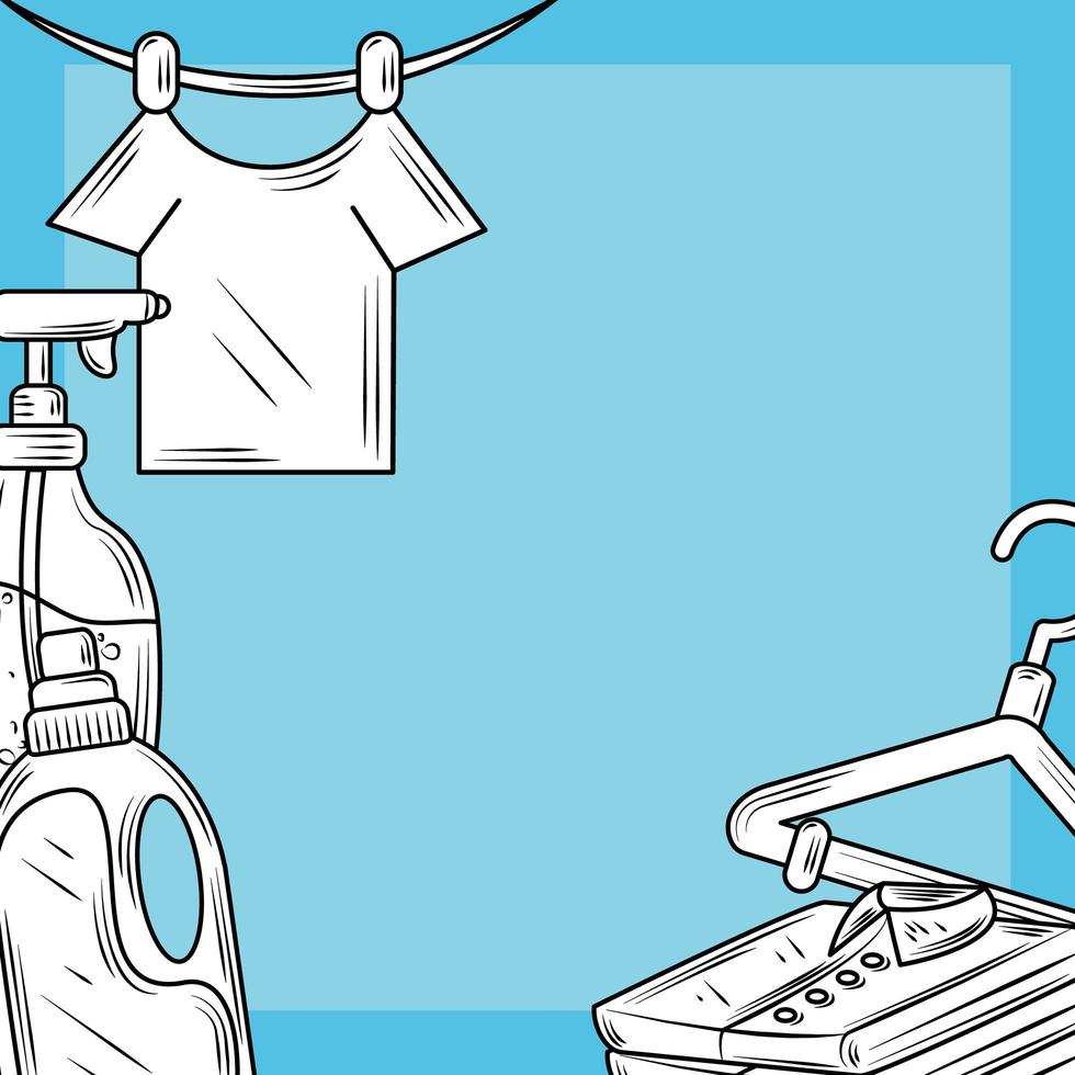 Laundry products and clothes composition vector