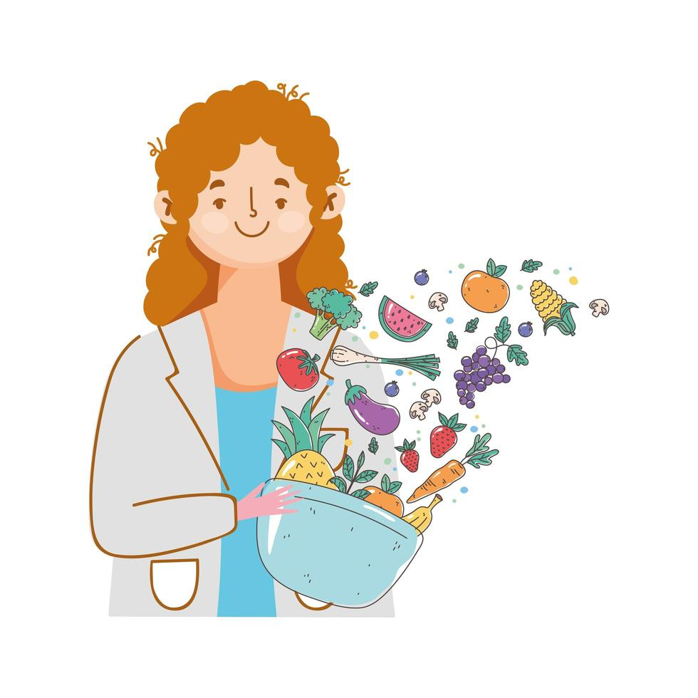 Dietitian with fresh fruits and vegetables vector