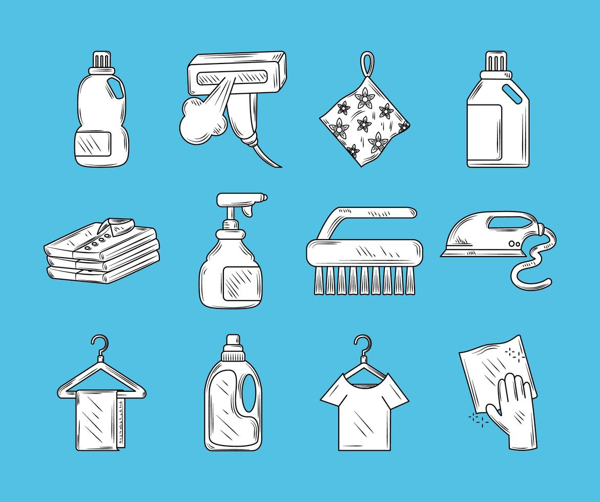 Laundry elements and clothes icon set vector