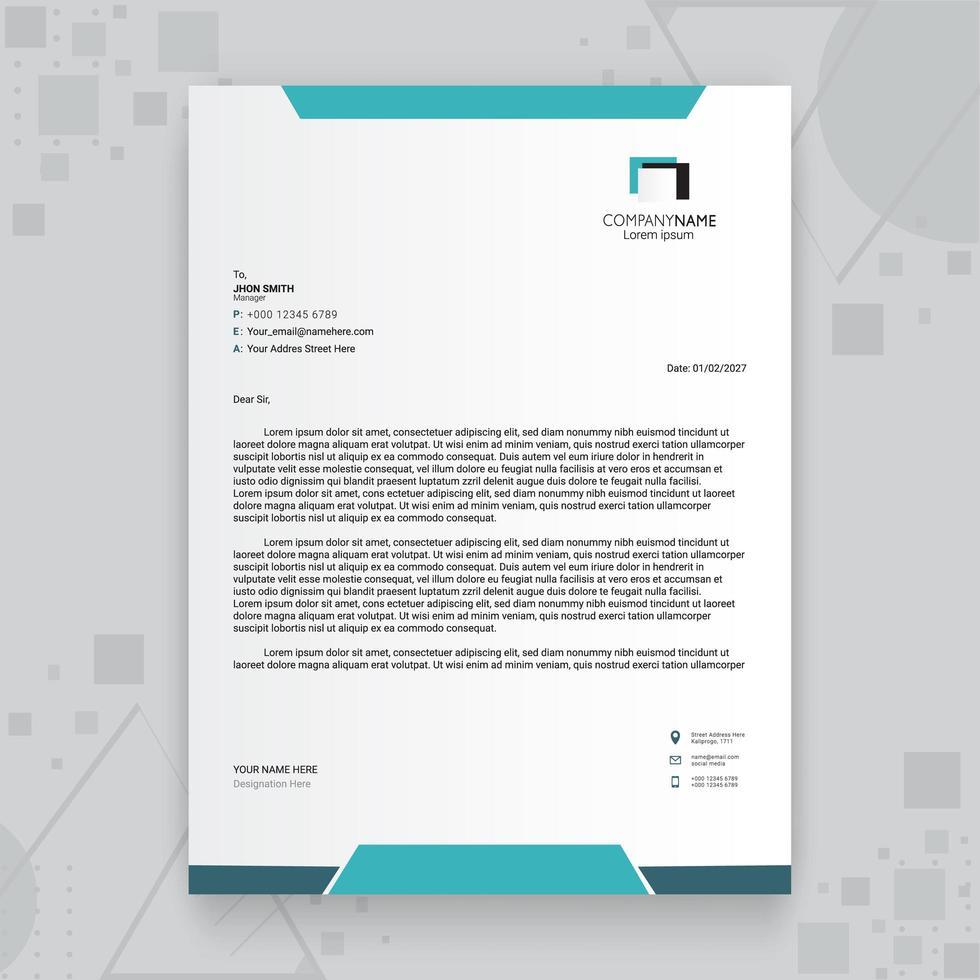 Blue Creative Business Letterhead Template vector